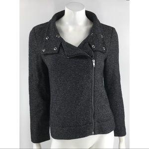 Loft Gray Moto Cotton Zippered Jacket